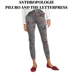 NWOT Anthro Pilcro Floral Corduroy Pants, Size 29
